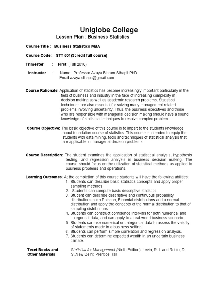 Work Plan MBA Uniglobe | Statistical Hypothesis Testing