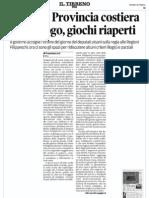 """Verso la Provincia costiera - Francesco Loi su """"Il Tirreno"""""""