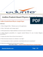 Andhra Pradesh Board Physics Sample Paper