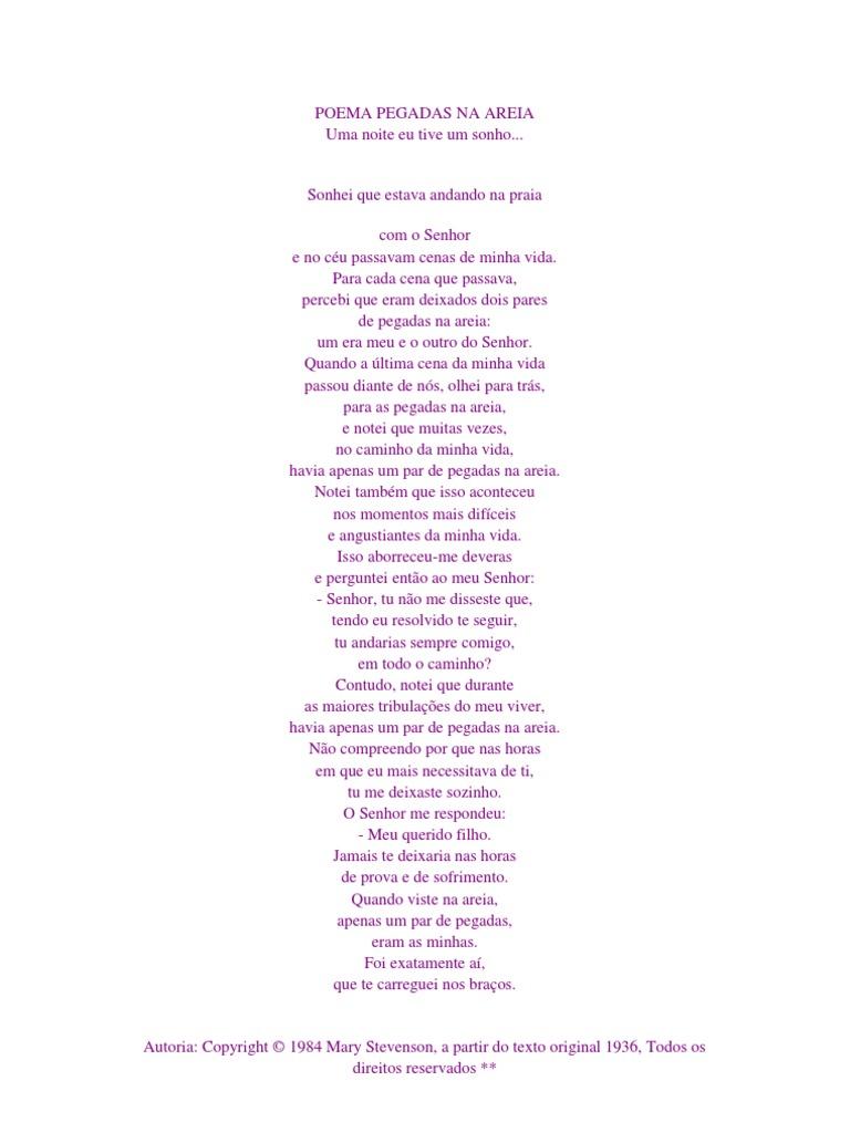 Poema Pegadas Na Areia