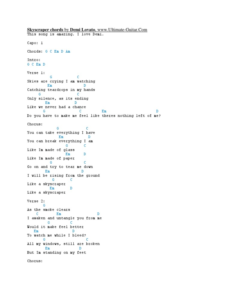 Skyscraper Chords By Demi Lovato Song Structure Leisure