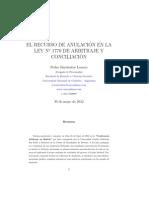 EL RECURSO DE ANULACIÓN EN LA LEY Nº 1770 DE ARBITRAJE Y CONCILIACIÓN