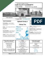 St. Mary's Church Sunday Bulletin for August 5, 2012