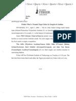 St. John Fisher College Press Release