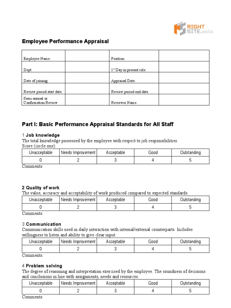 Employee Performance Appraisal Form | Performance Appraisal | Goal