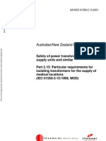 As NZS 61558.2.15-2001 Safety of Power Transformers Power Supply Units and Similar - Particular Requirements