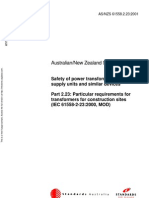 As NZS 61558.2.23-2001 Safety of Power Transformers Power Supply Units and Similar Devices - Particular Requi