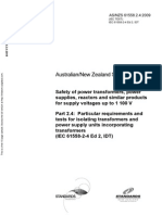As NZS 61558.2.4-2009 (IEC TEXT) Safety of Power Transformers Power Supplies Reactors and Similar Products Fo