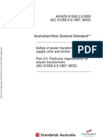 As NZS 61558.2.5-2003 Safety of Power Transformers Power Supply Units and Similar Devices Particular Requirem