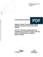 As NZS 61558.2.9-2011 (IEC TEXT) Safety of Power Transformers Power Supplies Reactors and Combinations Thereo