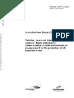 As NZS CISPR 12-2009 Vehicles Boats and Internal Combustion Engines - Radio Disturbance Characteristics - Lim
