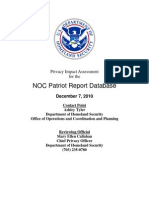 Privacy Pia Ops Noc Patriot Report Database DHS Privacy Documents for Department-wide Programs 08-2012