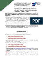 Instrucoes Normativas para Elaboracao do Artigo (Relatorio Final) - Ciências Humanas