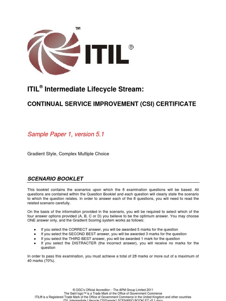 Itilv3 csi sample paper 1 itil swot analysis yelopaper Image collections