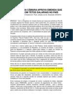 COMISSÃO DA CÂMARA APROVA EMENDA QUE ACABA COM TETOS SALARIAIS NO PAÍS