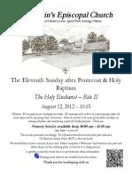 St. Martin's Episcopal Church Worship Bulletin - Aug. 12 / 10:15 a.m.