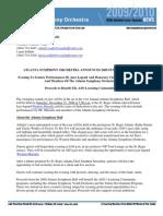 2009 Atlanta Symphony Ball Press Release