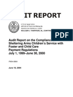 Compliance of Sheltering Arms Children's Services With Foster and Child Care Payment Regulations