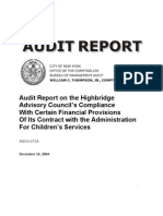 Highbridge Advisory Council's Compliance with Financial Provisions of Its Contract With ACS