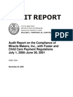Report on Compliance of Miracle Makers, With Foster and Child Care Payment Regulations