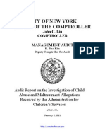 Report on the Investigation of Child Abuse and Maltreatment Allegations Received by the ASC