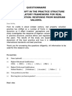 Questionnaire for Valuation Structure and Regulatory Framework