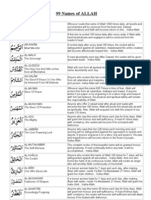 99 Name of Allah With Benefits | Religious Behaviour And