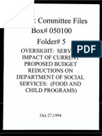 Box 050100, Folder 5, 1994 Oversight of Fiscal Impact on Social Services