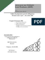 ASSÉ - Cahier de préparation des délégations - 29 & 30 octobre 2011