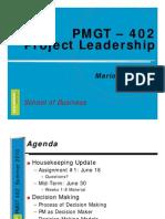 PMGT 402 Week 6 W10 Decision M