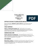 Southold Planning Board Agenda Aug. 13, 2012