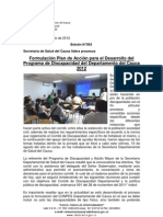 Boletín 063_Formulación Plan de Acción para el Desarrollo del Programa de Discapacidad del Departamento del Cauca 2012