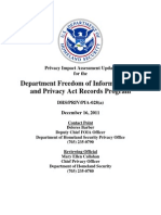 Privacy Pia Dhs Foia and Pia Update DHS Privacy Documents for Department-wide Programs 08-2012