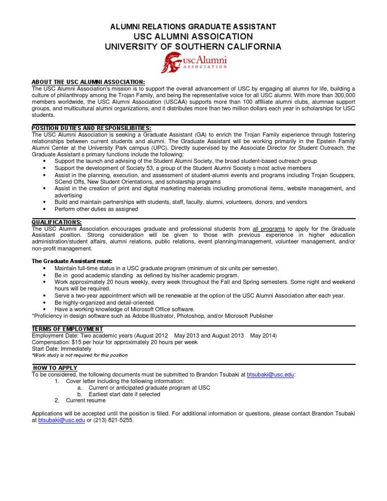 Graduate Assistant Position Description F12b   University Of ...