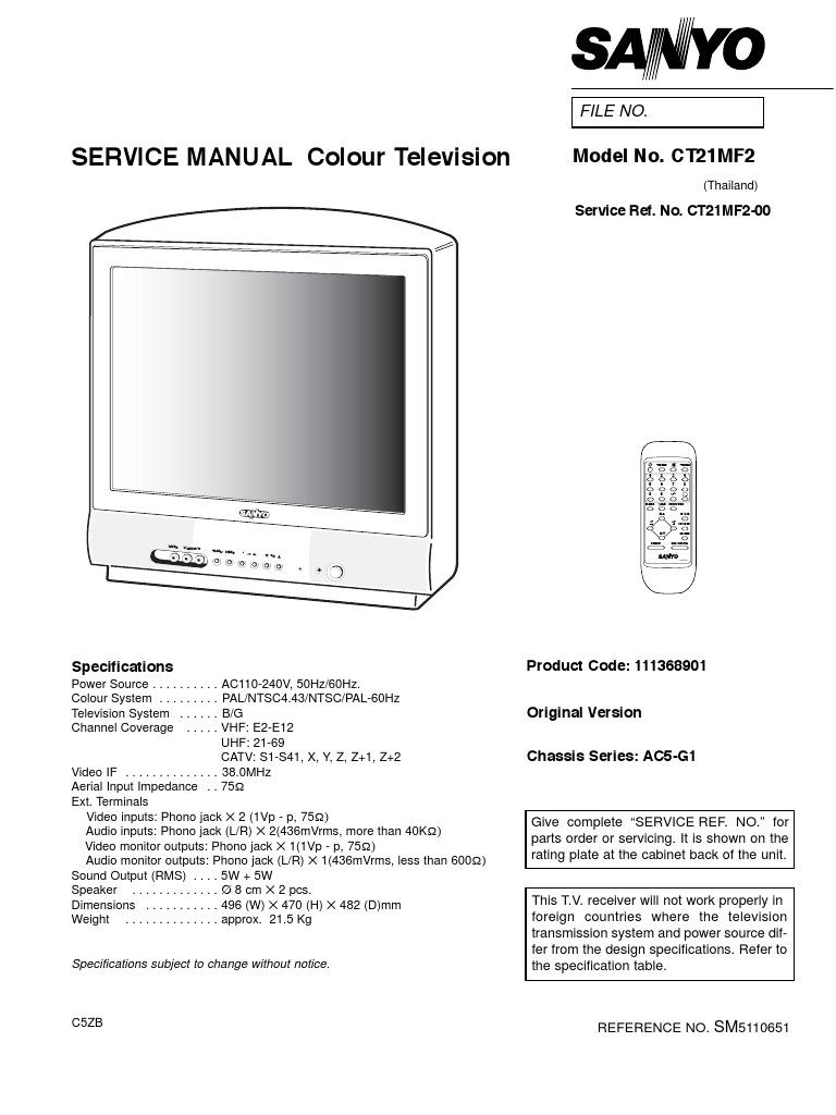 Service Manual St-21mf1 St21mf1 Chassis Ac5-g1 La76818a