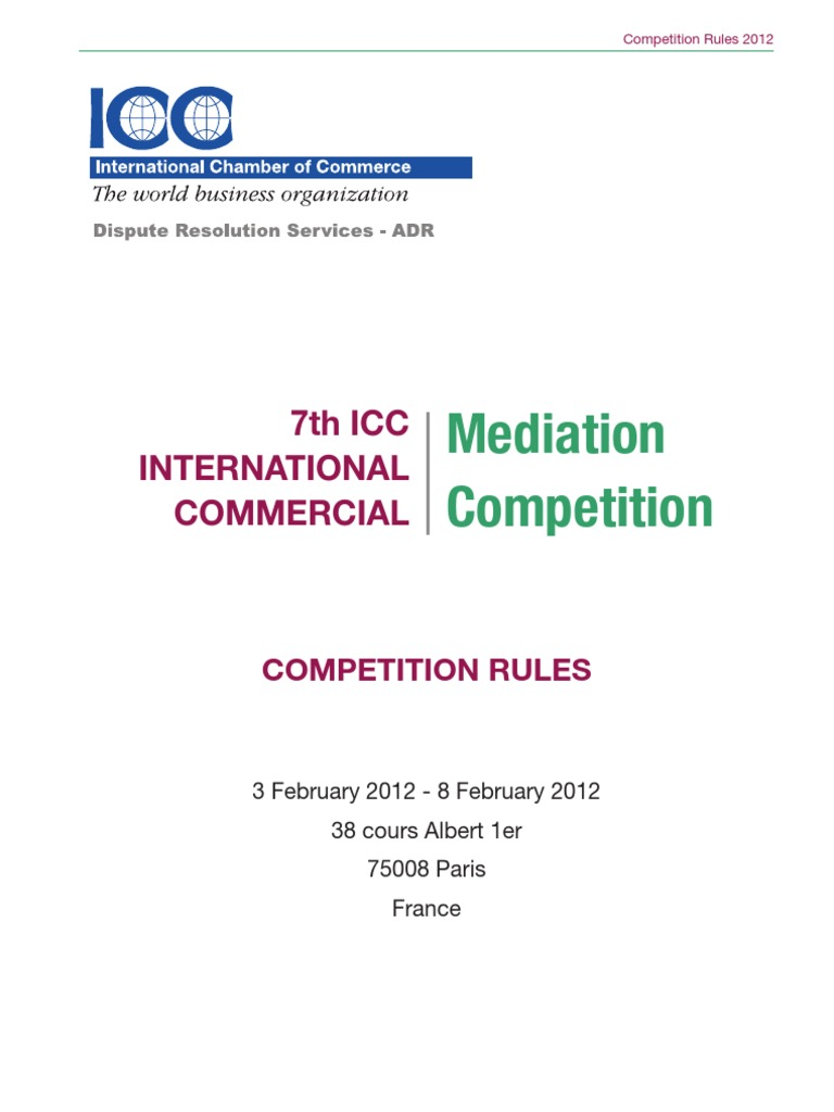 4e3200cc633 ICC Mediation Moot Competition RULES
