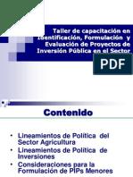 Lineamientos PIPs en El SectorAgrario