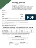 Junior Program Signup Form Fall 2012