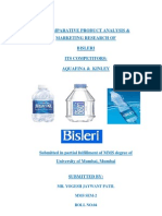 A COMPARATIVE PRODUCT ANALYSIS & MARKETING RESEARCH OF BISLERI ITS COMPETITORS: AQUAFINA &  KINLEY