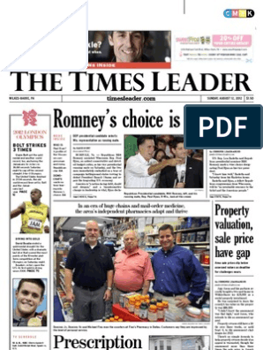 he imes eader: Romney's choice is Paul Ryan