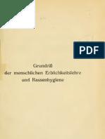 Baur, Erwin Und Fischer, Eugen Und Lenz, Fritz - Grundriss Der Menschlichen Erblichkeitslehre Und Rassenhygiene - Band 2 (1921, 262 S., Scan)