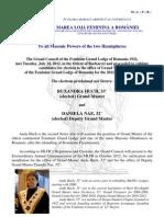 Communique of the Feminine Grand Lodge of Romania - 8 August 2012