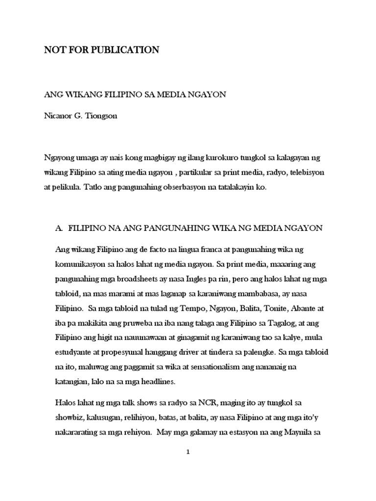 Ang Wikang Filipino Sa Media Ngayon