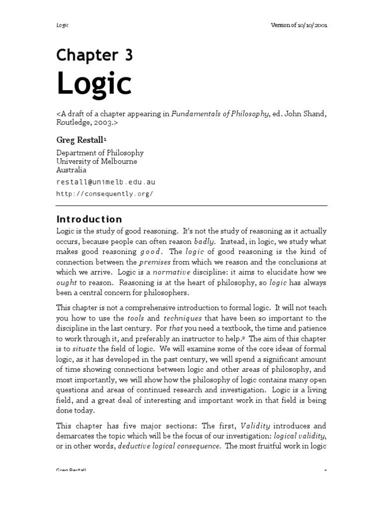 Graeme forbes modern logic scribd - Logic From Fundamentals Of Philosophy Greg Restall Validity Argument