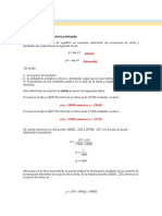 Ejercicios Ecuacion de Oferta y Demanda