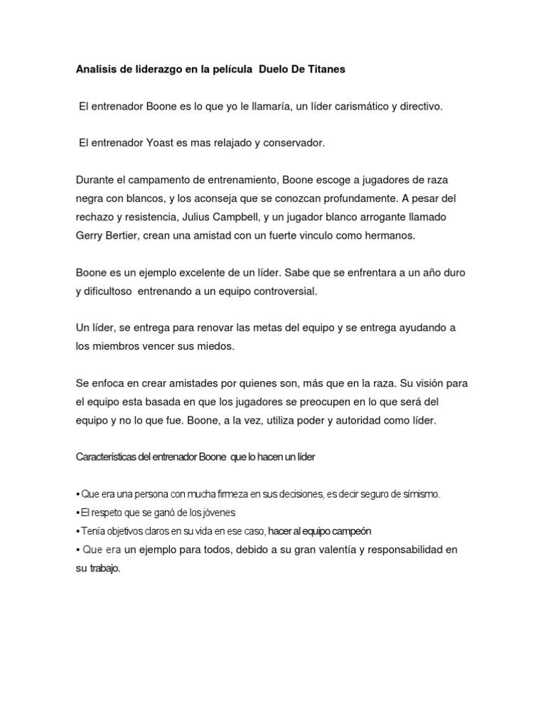 Analisis De Liderazgo En La Pel Cula Duelo De Titanes