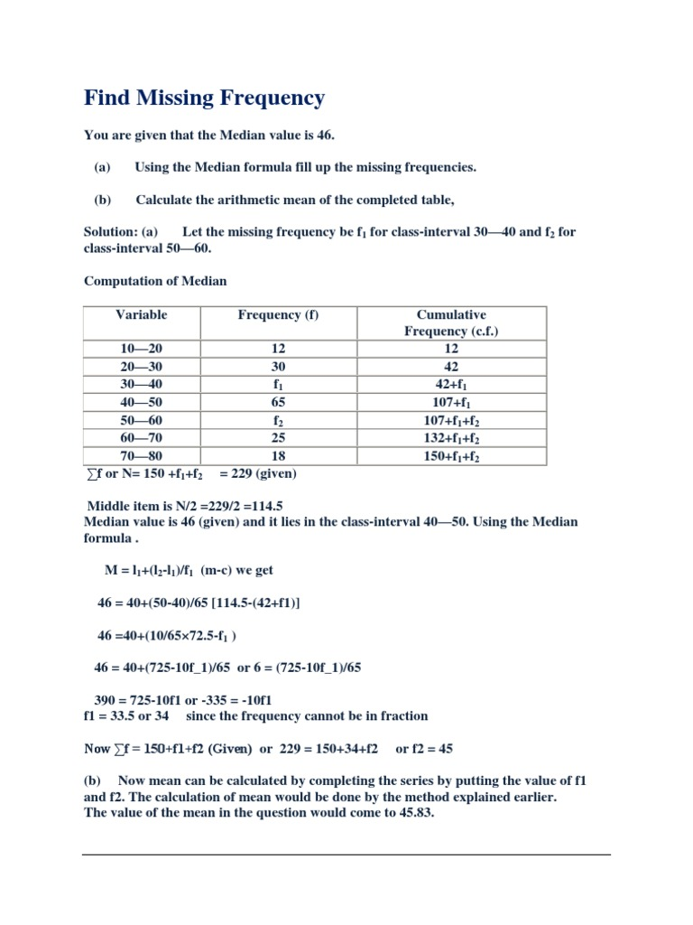 Find Missing Frequency Arithmetic Mean Median