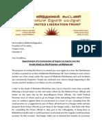 Anandasangaree Letter to President Rajapaksa