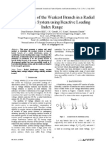 Determination of the Weakest Branch in a Radial Distribution System using Reactive Loading Index Range