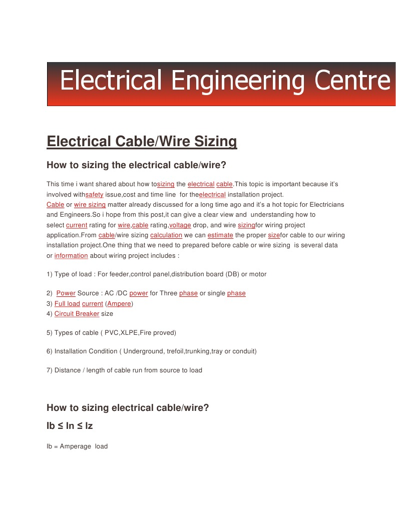 Electricneutron_how to Sizing a Wire-cable | Electrical Wiring | Cable